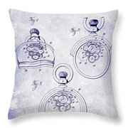 1893 Pocket Watch Patent Blueprint Throw Pillow