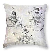1893 Pocket Watch Patent Throw Pillow