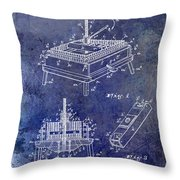 1894 Wine Press Patent Blue Throw Pillow