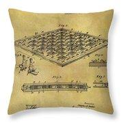 1896 Chess Set Patent Throw Pillow