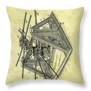 1896 Oil Rig Illustration Throw Pillow