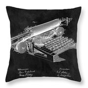 1896 Typewriter Patent Illustration Throw Pillow