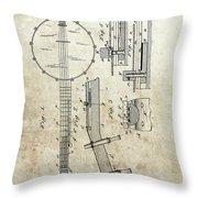 1897 Banjo Patent Throw Pillow