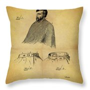 1897 Barber Apron Throw Pillow