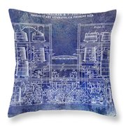 1897 Beer Brewering Patent Blue Throw Pillow