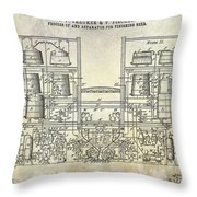 1897 Beer Brewering Patent  Throw Pillow