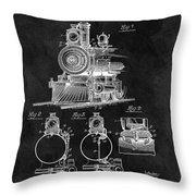 1898 Locomotive Headlight Patent Throw Pillow