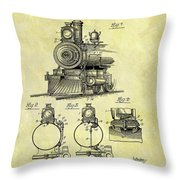 1898 Locomotive Patent Throw Pillow