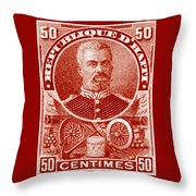 1898 President Of Haiti Stamp Throw Pillow