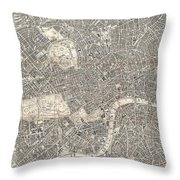 1899 Bacon Pocket Plan Or Map Of London  Throw Pillow