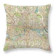 1899 Bartholomew Fire Brigade Map Of London England  Throw Pillow
