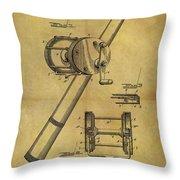 1899 Fishing Reel Patent Throw Pillow
