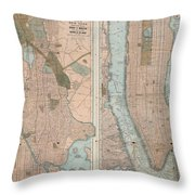 1899 Home Life Map Of New York City  Manhattan And The Bronx  Throw Pillow