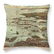 1899 View Map Of Boston Harbor From Boston To Cape Cod And Provincetown  Throw Pillow