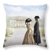 18th Century Georgian  Couple Looking Towards A Country Estate Throw Pillow