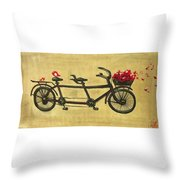 18x36 Premium Gallery Tandem Bicycle Painting With Red Birds Red Flowers Throw Pillow