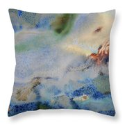 19. Blue Green Brown Abstract Glaze Painting Throw Pillow