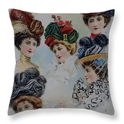 19 Century Ladies Hats The Delineator Early Autumn Hats Throw Pillow