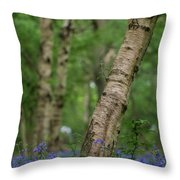 Shallow Depth Of Field Landscape Of Vibrant Bluebell Woods In Sp Throw Pillow