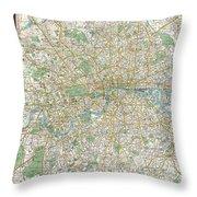 1900 Bacon Pocket Map Of London England  Throw Pillow