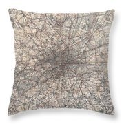 1900 Gall And Inglis' Map Of London And Environs Throw Pillow