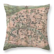 1900 Garnier Pocket Map Or Plan Of Paris France  Eiffel Tower And Other Monuments  Throw Pillow