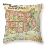 1900 National Publishing Railroad Map Of Connecticut Massachusetts And Rhode Island  Throw Pillow