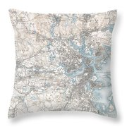 1900 Us Geological Survey Of Boston And Vicinity Massachusetts Throw Pillow