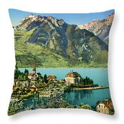 1900s Switzerland Swiss Alps Spiez Mit Ralligstoecke Throw Pillow