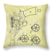 1901 Automatic Revolver Patent Throw Pillow
