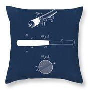 1902 Baseball Bat Patent In Blue Throw Pillow