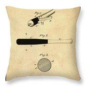 1902 Baseball Bat Patent In Sepia Throw Pillow