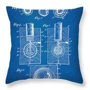 1902 Golf Ball Patent Artwork - Blueprint Throw Pillow by Nikki Marie Smith