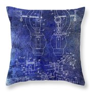 1902 Watchmakers Lathes Patent Blue Throw Pillow
