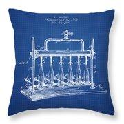 1903 Bottle Filling Machine Patent - Blueprint Throw Pillow
