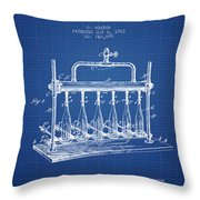 1903 Bottle Filling Machine Patent - Blueprint Throw Pillow