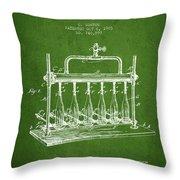 1903 Bottle Filling Machine Patent - Green Throw Pillow