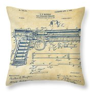 1903 Mcclean Pistol Patent Artwork - Vintage Throw Pillow