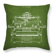 1903 Type Writing Machine Patent - Green Throw Pillow