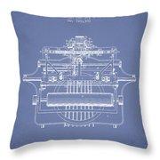 1903 Type Writing Machine Patent - Light Blue Throw Pillow