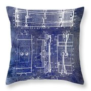 1904 Drum Patent Blue Throw Pillow