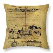 1904 Fishing Decoy Patent Throw Pillow