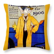 1906 Automobile Calender Throw Pillow