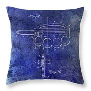 1906 Oyster Shucking Knife Patent Blue Throw Pillow