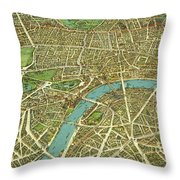 1908 London Vintage Map Poster Throw Pillow