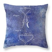 1909 Cork Extractor Patent Blue Throw Pillow