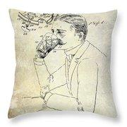 1909 Mustache Guard Patent Throw Pillow by Jon Neidert