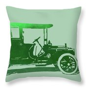 1909 Packard Limousine Green Pop Throw Pillow