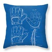 1910 Baseball Glove Patent Artwork Blueprint Throw Pillow
