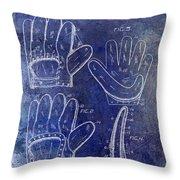 1910 Baseball Glove Patent Blue Throw Pillow